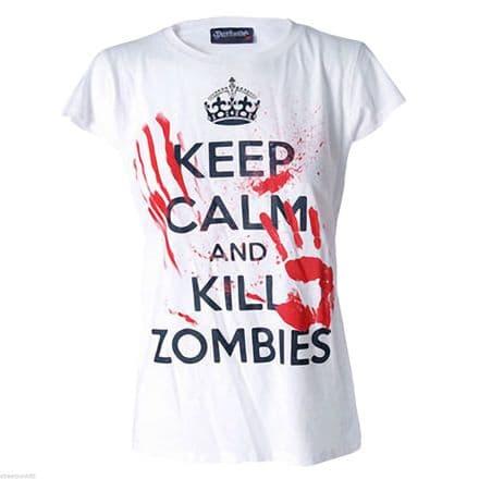 DARKSIDE CLOTHING KEEP CALM KILL ZOMBIES WOMENS T-SHIRT BLOOD SPLAT HORROR EVIL